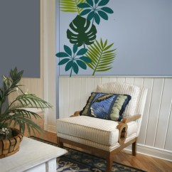 Burgundy And Brown Living Room Modern Wall Painting Ideas For Tropical Leaf Decals Stickers