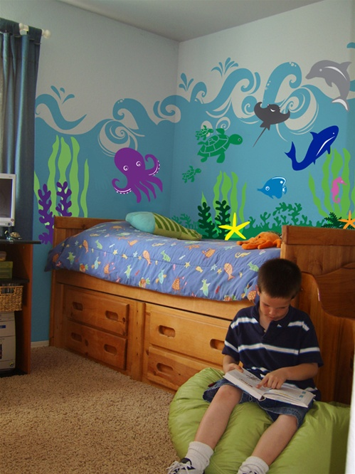 cowboy living room ideas best grey paint for uk under the sea ocean & animal wall decal stickers