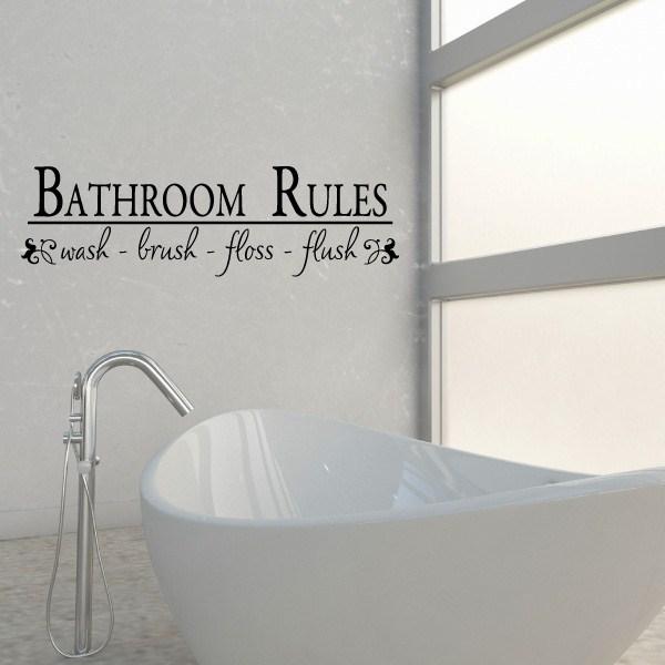 bathroom rules wash brush floss flush  Vinyl Wall Decal