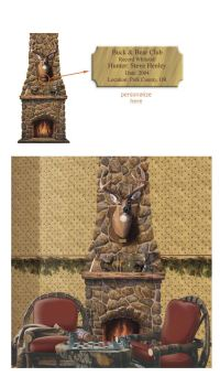 Fireplace with Deer Head Peel and Stick Wall Mural