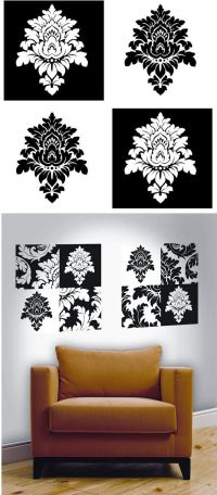 black and white damask wall art white damask wall decals