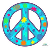 Peace Sign Teal Wall Decal