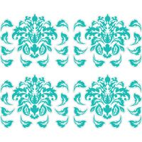 Large Teal Damask Peel and Stick Decals
