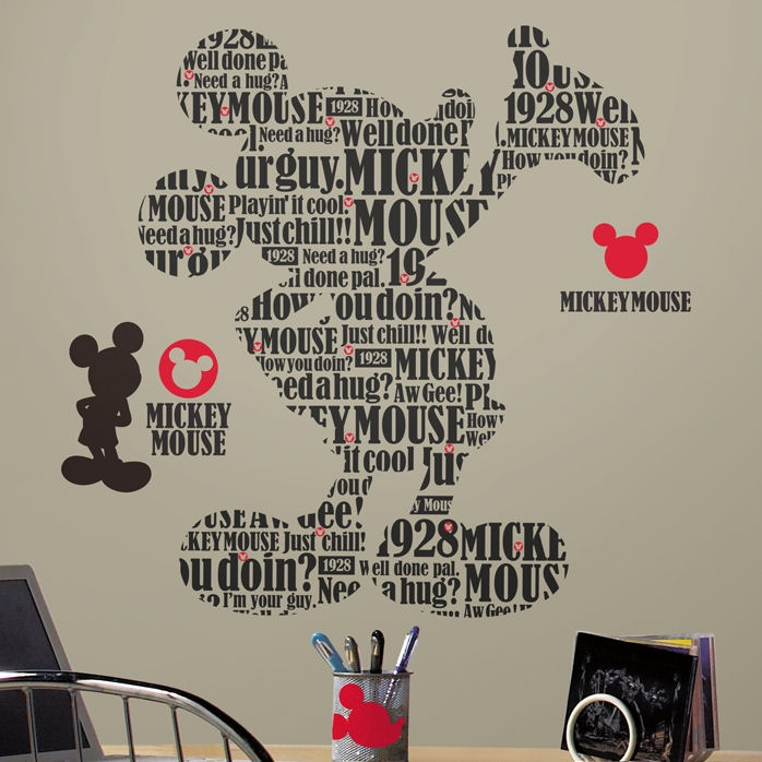 Typographic Mickey Mouse Giant Wall Decals