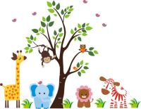 Darling Nursery Zoo With Tree Wall Decals