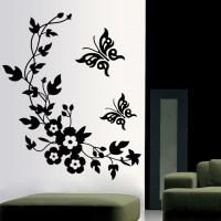 3D Butterfly Flowers Sticker  WallStickersCo