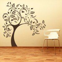 Large Tree with Floral Design Wall Sticker