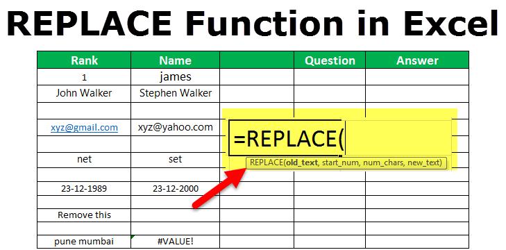 ЗАМЕНИТЬ функцию в Excel