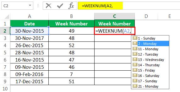Пример номера недели 1-5