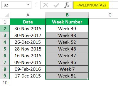 WEEKNUM Пример 2-3
