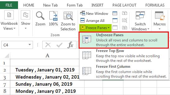 Заморозить ячейки в Excel Ex. 1.3