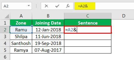 Объединение строк в Excel, пример 4.2