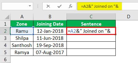 Объединение строк в Excel, пример 4.3