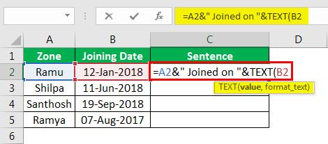 Объединение строк в Excel, пример 4.6