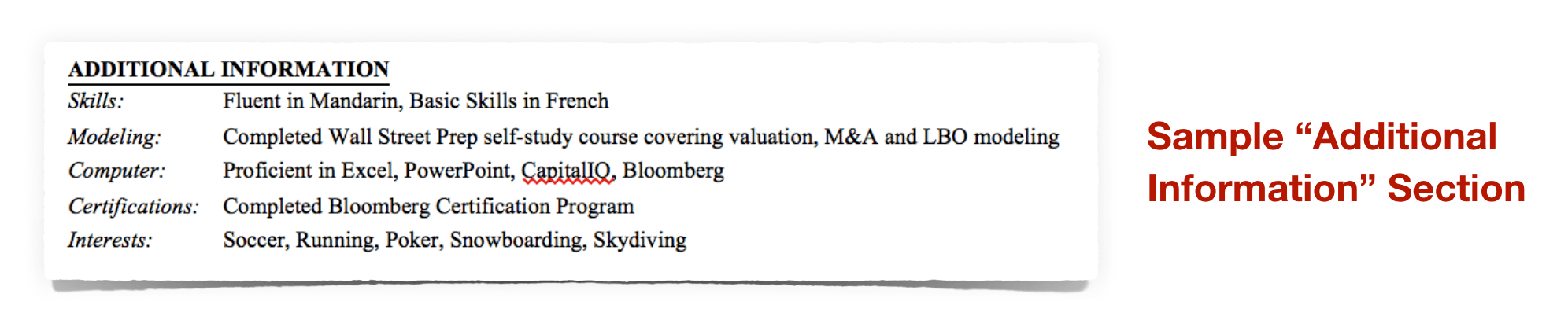 Investment Banking Additional Information Section