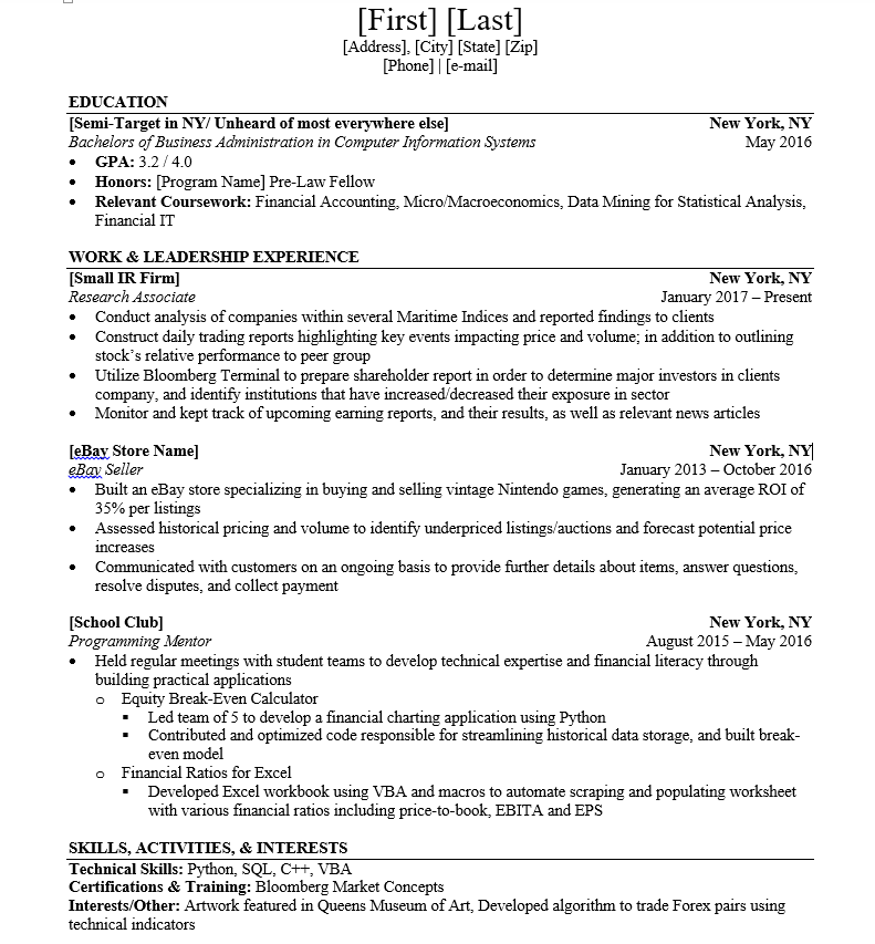 finance resume template wso