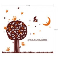 Brown Tree, Birds, Moon and Stars Wall Decal by ...