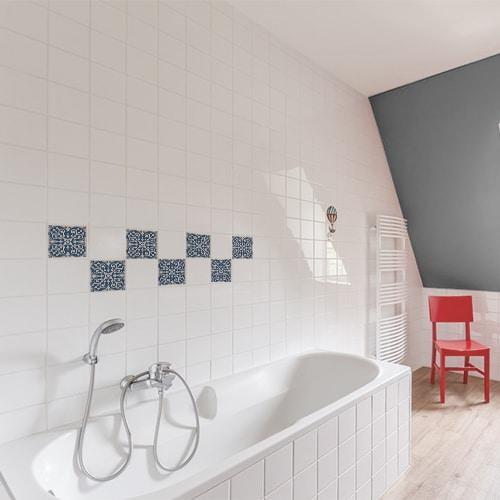 sticker decoration interieur ciment bleu et beige