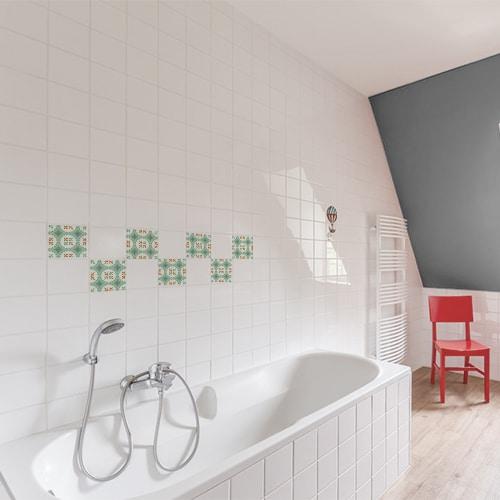 sticker imitation ciment vert et orange pour decoration interieure