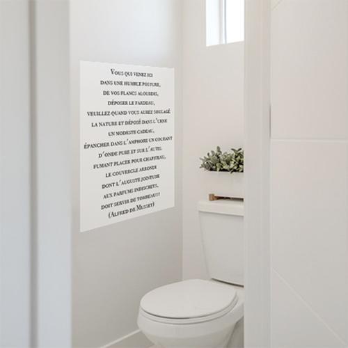 autocollant mural pour toilettes citation humour alfred de musset