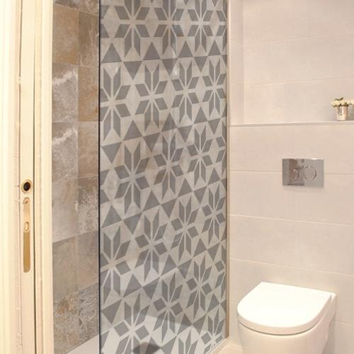 sticker autocollant pour douche carrelage hexagonal salle de bain