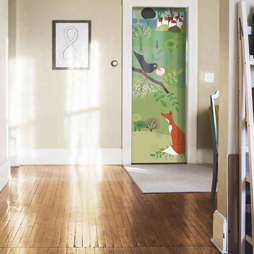 stickers autocollants pour porte de chambre d enfant corbeau et renard