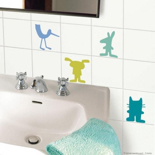 pack de 4 stickers pour carrelage animaux deco salle de bain enfant