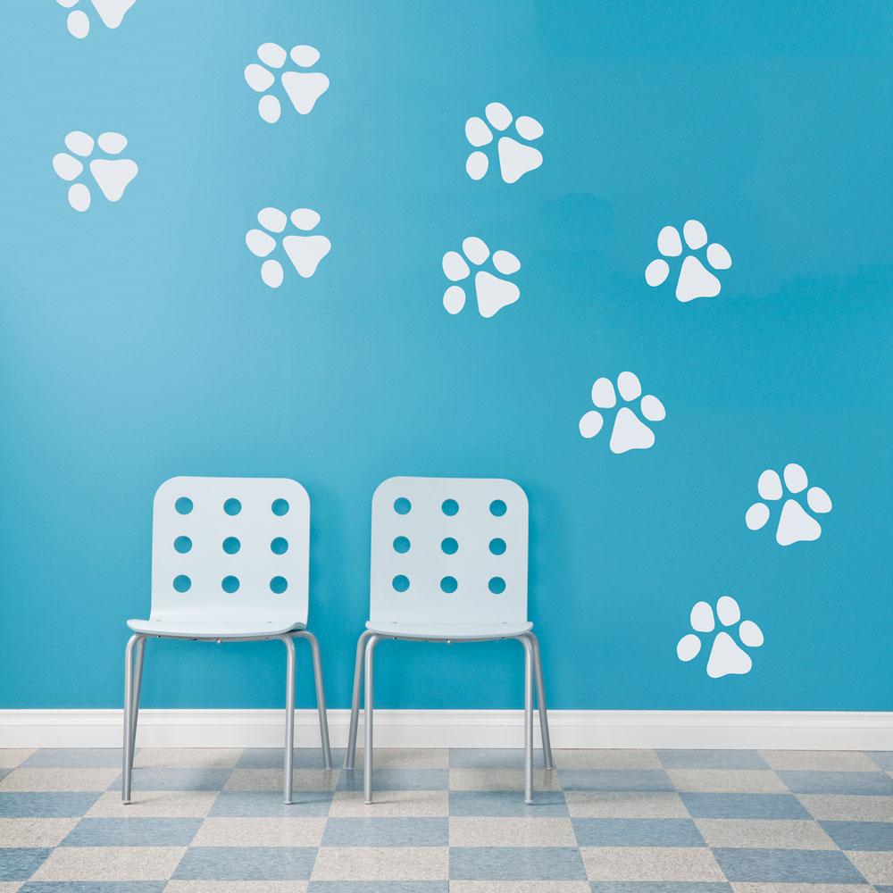 dog paw prints wall