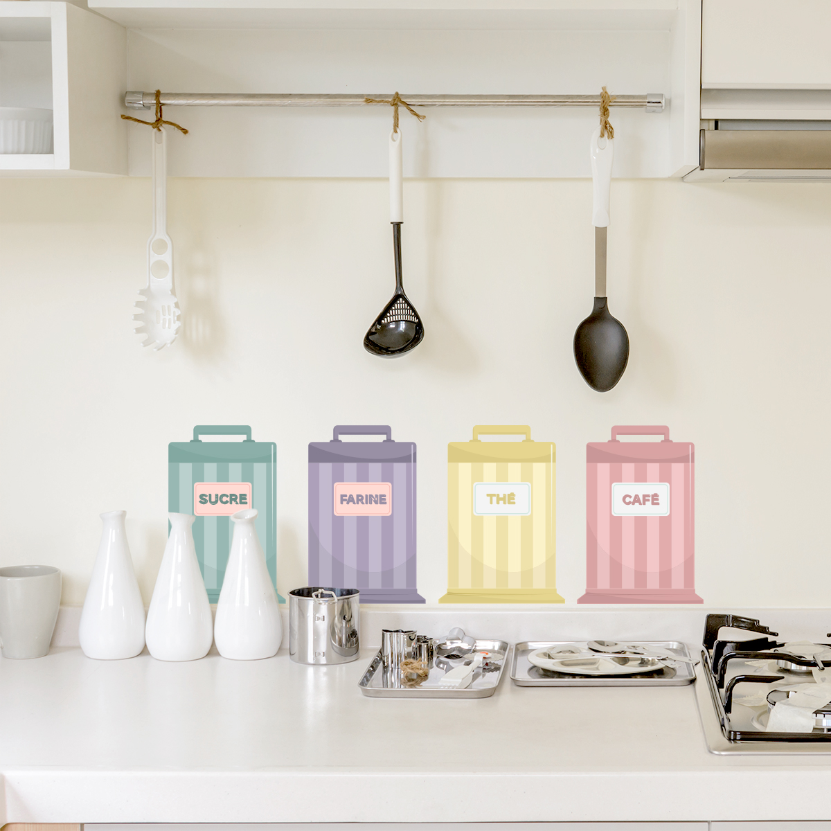 French Kitchen Tins Printed Wall Decal