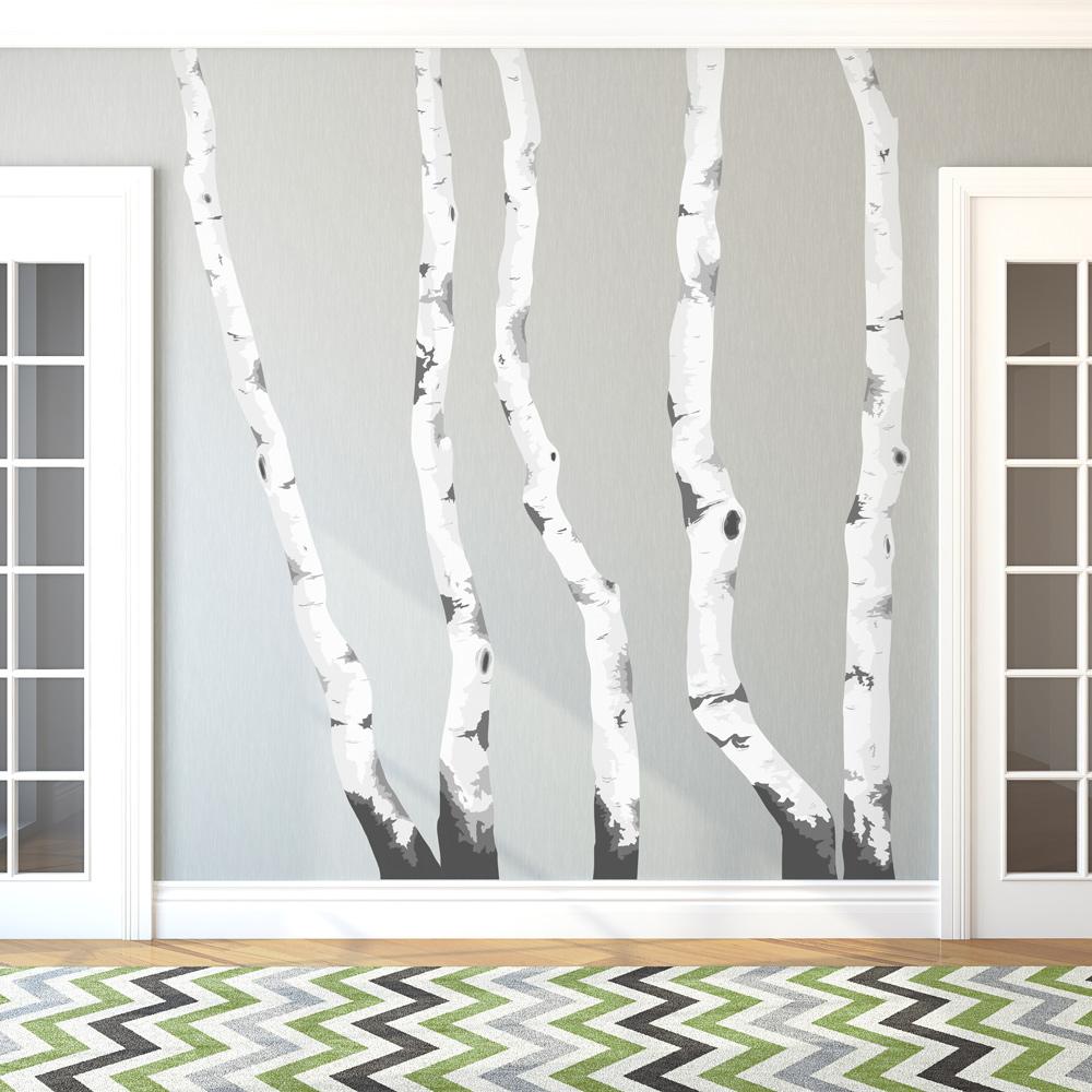 birch trees printed wall