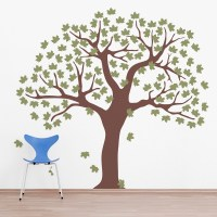 Large Tree Wall Decal - large elegant tree with bird ...