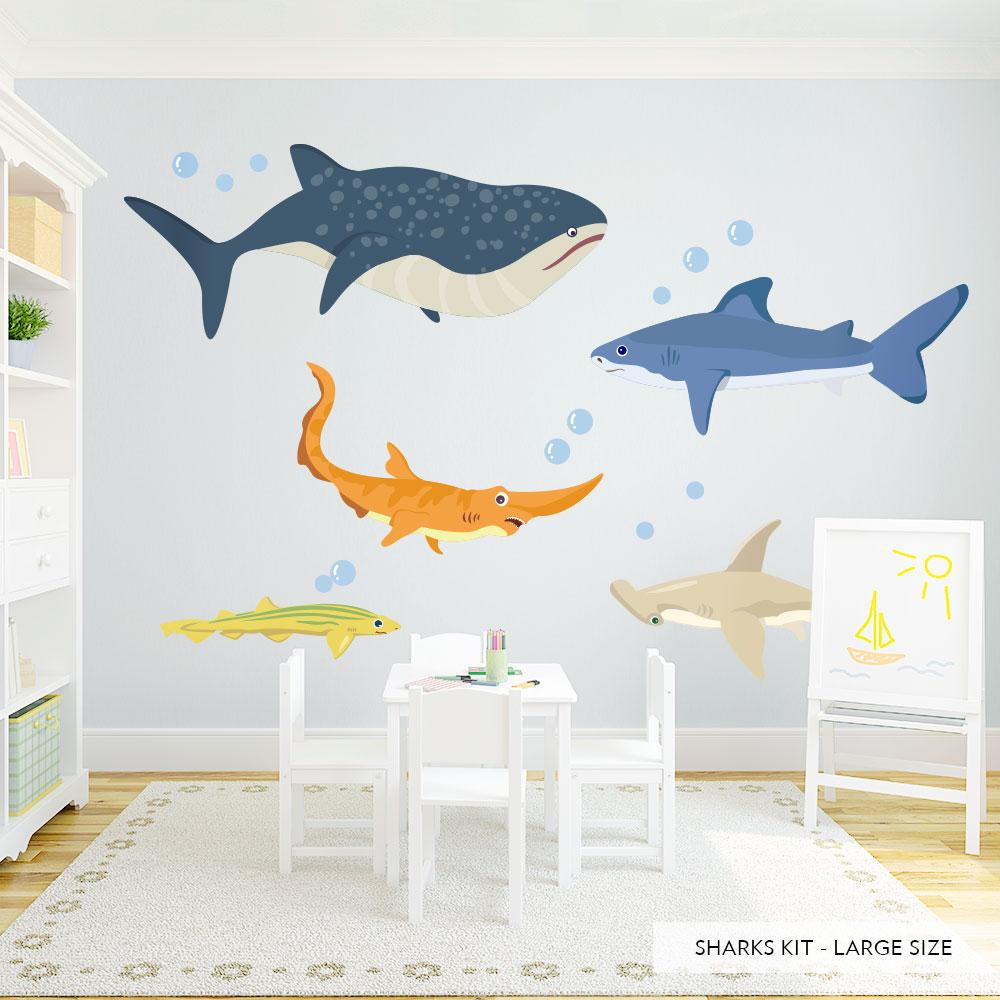 Shark Adventures Printed Wall Decal