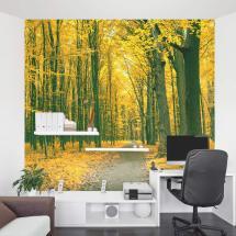 Golden Fall Forest Wall Mural