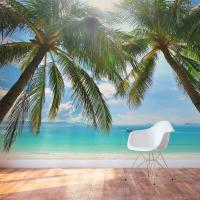 Tropical Beach Wall Mural | Beach Scene Wall Decal | Wallums