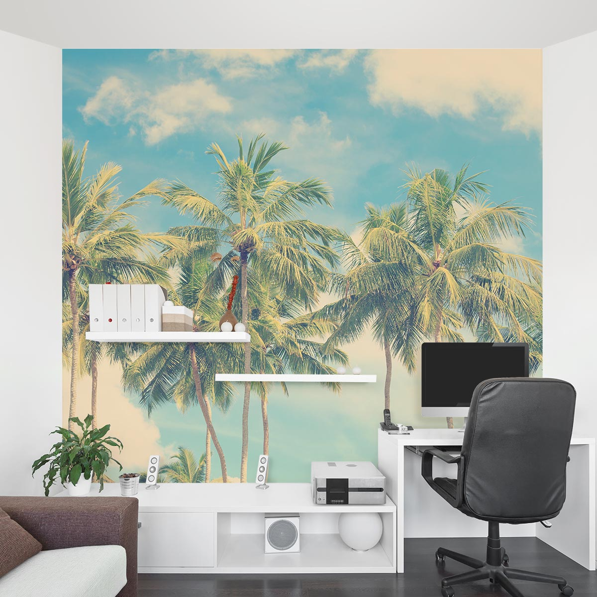 Religious Wallpaper With Quotes Vintage Palm Tree Wall Mural Vintage Palm Wall Decal