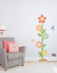 Flower growth chart wall decal also rh wallums