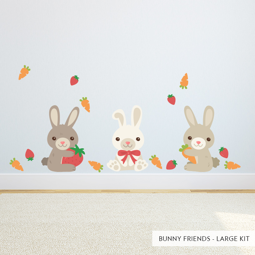 Bunny Friends Wall Decal  Bunny Rabbit Wall Stickers