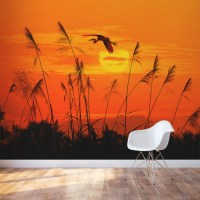 Heron Reed Sunset Wall Mural