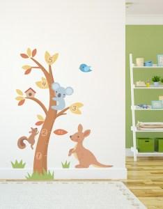 also koala and kangaroo growth chart wall decal rh wallums