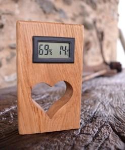 qualité thermomètre en bois de chêne avec un coeur Saint-Valentin