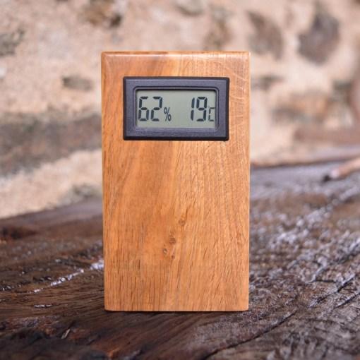en bois, thermomètre en chêne