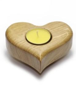 Bougeoir à thé en chêne massif en forme de cœur - cadeau de la Saint-Valentin jaune