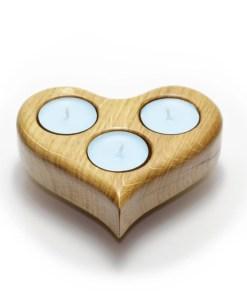Grand porte-bougies à thé en chêne massif en forme de coeur - Cadeau Saint-ValentinGrand porte-bougies à thé en chêne massif en forme de coeur - Cadeau Saint-Valentin