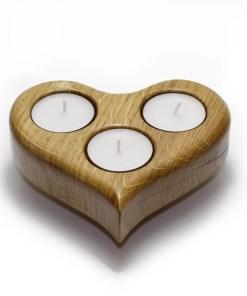 Grand porte-bougies à thé en chêne massif en forme de coeur - Cadeau Saint-Valentin blanc