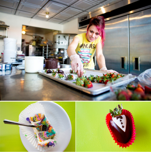 CW from top: Shila Jansen puts the finishing touches on a pan of chocolate-covered strawberries at her shop, Art of Confections, on March 18, 2015. / A finished tuxedo-themed strawberry is ready for consumption. / A slice of rainbow cake looks--and tastes--delicious.