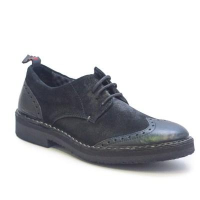 scarpa bassa Richy in pelle e camoscio nero