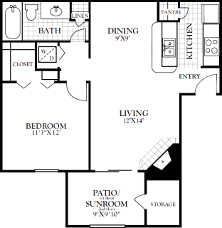 1 Bed / 1 Bath / 678 sq ft / Deposit: from $100 / Rent: Starting at $955