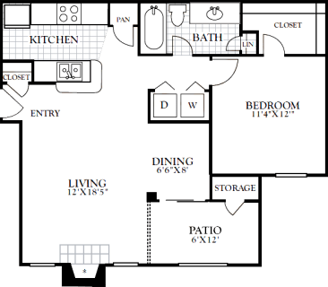 1 Bed / 1 Bath / 748 sq ft / Deposit: from $100 / Rent: Starting at $980