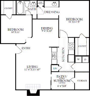 2 Bed / 1 Bath / 887 sq ft / Deposit: from $200 / Starting at $1200