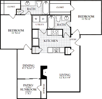 2 Bed / 2 Bath / 976 sq ft / Deposit: from $200 / Rent: $1,215